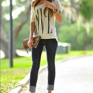 Tops - LOVE off shoulder shirt